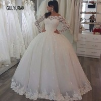 Wedding Dress 2017 New Scoop Neck Romantic Three Quarter Beaded Lace Casamento Robe De Mariage Bride