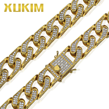 Xukim Jewelry Iced Out Miami Cuban Chain Gold Silver Color Hip Hop Link Chains Necklace AAA Cubic Zirconia Rapper Jewelry Gift цены