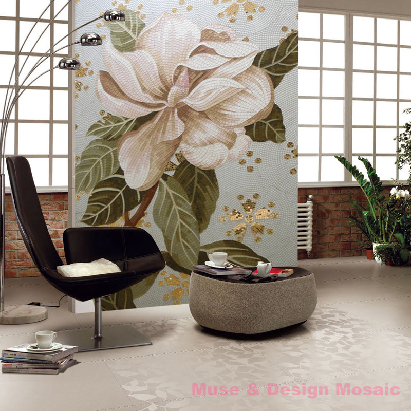 White Flowers glass mosaic painting mural art decorative