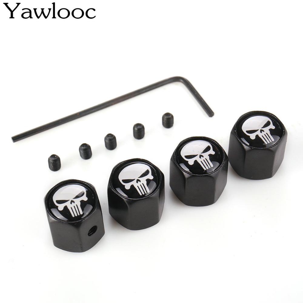 Yawlooc HOT Anti Theft Punisher Skull Emblem Car Wheel Tire Valve Cap Stem Air Cover Car Styling Truck Car Motorbike Accessories