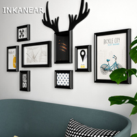 Modern Fashion Antlers Bar/Store/Home Wall Decoration Solid Wooden Large Pictures Frames Painting Photo Frame Set HF9341
