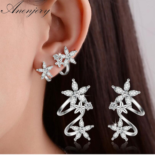 Anenjery 925 Sterling Silver Butterfly Star Flower CZ Zircon Stud Earrings pendientes oorbellen boucle d'oreille Gift S-E329