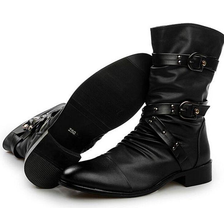 Véritable Chaussures Hombre Haute Base Noir Botas Hommes Rock Bottes Mi Qualité Uniforme mollet De Moto En D'hiver Cuir Punk rI1naUIF