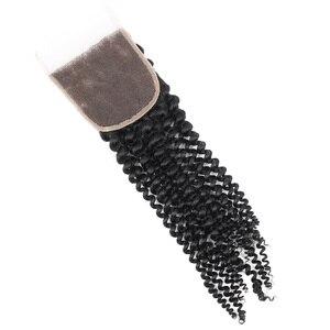 Image 3 - Yvonne 4A 4B rizado cabello humano mechones con cierre 3 mechones brasileño de la armadura del pelo de la Virgen mechones con cierre 4x4