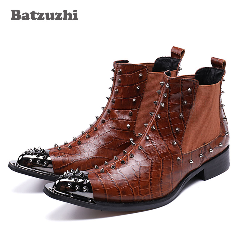 Batzuzhi 2018 New Western Cowboy Boots Man Metal Pointed Toe Leather Boots Brown Rock Motocycle Boots Men Nightclub Party,38-46 fashion pointed toe lace up mens shoes western cowboy boots big yards 46 metal decoration page 8