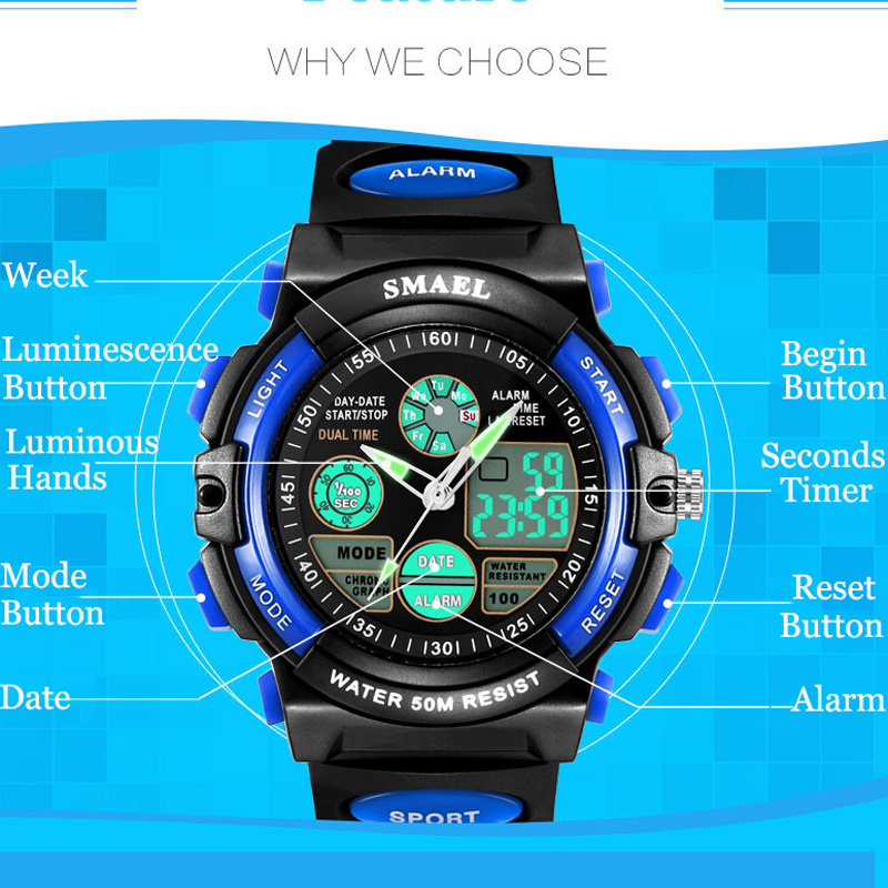 Kids Watches Baby Gifts Digital Girls Outdoor-Sports Waterproof Children Boy And Analog