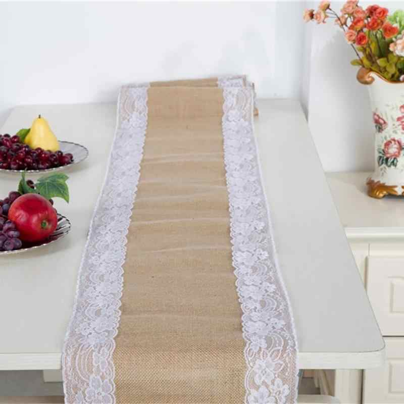 Vintage arpillera de encaje de yute de lino camino de mesa Natural yute país comedor habitación restaurante Mesa fiesta boda decoración