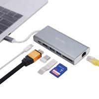 Type C USB HUB USB C to HDMI Thunderbolt 3 Docking Station Multiple Port LAN RJ45 Ethernet Adapter For MacBook USB 3.0 HUB