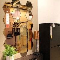 Three Dimensional Hexagonal 7 Piece Wall Decoration Acrylic Mirrored Decorative Sticker Room Decoration DIY Wall Art