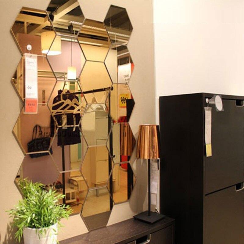 Three Dimensional Hexagonal 7 Piece Wall Decoration Acrylic Mirrored Decorative Sticker Room Decoration Diy Wall