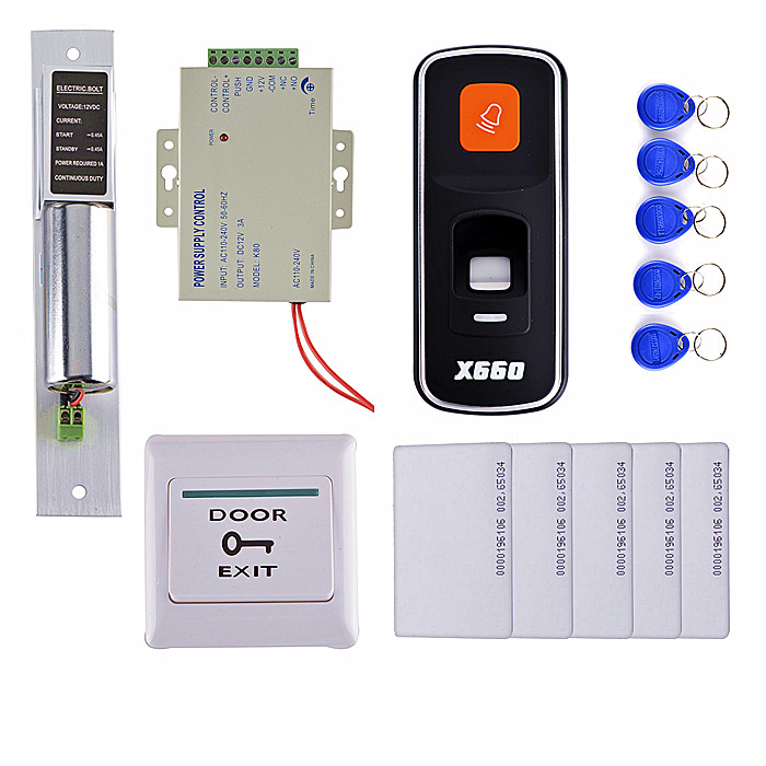 5 FobKey+5 RFID Key Card +DIY Fingerprint 125KHz RFID ID Card Reader Door Access Control System Kit +Power Supply diysecur 50pcs lot 125khz rfid card key fobs door key for access control system rfid reader use red