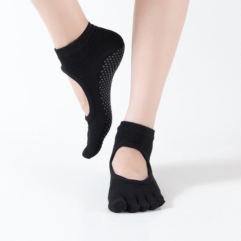 1Pair New Anti-Slip Women Yoga Sport Socks Ankle Grip Durable Colorful Five Fingers Cotton Full Toe Yoga Socks  T