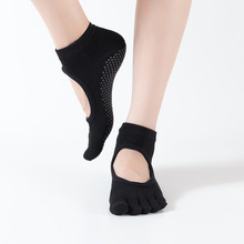 1Pair New Anti-Slip Women Yoga Sport Socks Ankle Grip Durable Colorful Five Fingers Cotton Full Toe  T