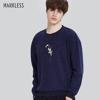 Markenlose 2017 Neue Herren Sweatshirt Marineblau Lose Beiläufige Pullover Männlichen Stickerei Partten Sweatshirt sudaderas hombre WYA7420M
