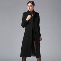 Black/Green/Red/Gray Long Wool Coat Fashion Elegant Wide waisted Solid Color Women Jacket Coat Cashmere Single Breasted Overcoat