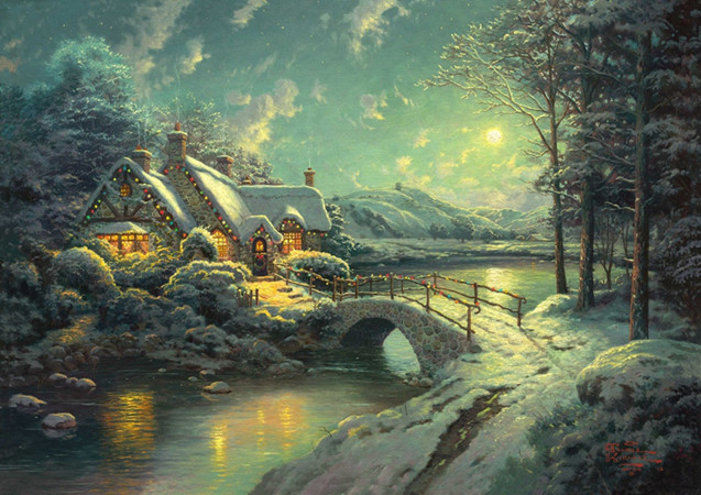 free shipping Thomas Christmas lights house scenery canvas prints oil painting printed on canvas wall art decoration picture