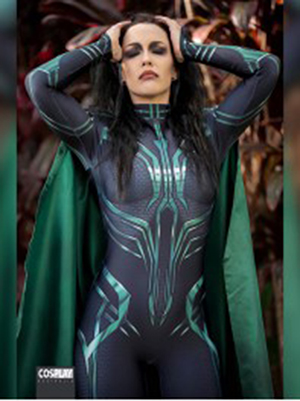 Hela of Thor Ragnarok Woman Cosplay Costume 3D Print Spandex Zentai Bodysuit Costume with Cape Free