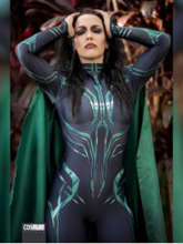 Hela of Thor Ragnarok Woman Cosplay Costume 3D Print Spandex Zentai Bodysuit Costume with Cape Free shipping Custom Made