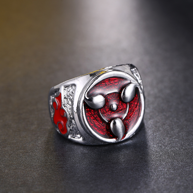 HSIC Dropshipping Hot Anime Naruto Sharingan Pattern Men Ring Personal Unique Ri