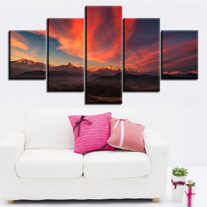 5 pc set tibet_mountains_sunset_sky_panorama no frame oil painting canvas prints wall art pictures for living room