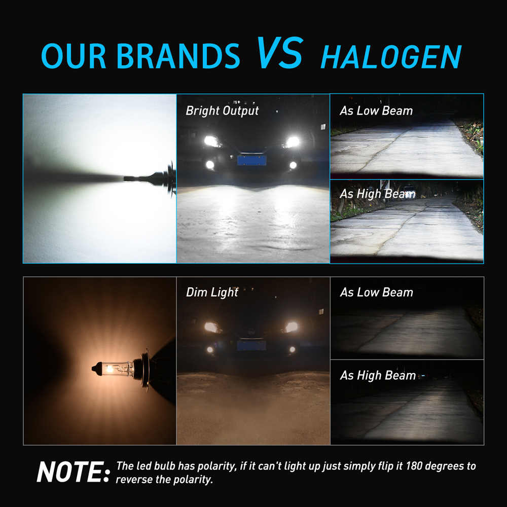 OXILAM H4 H7 LED פנס הנורה 16000LM 48W 6000K לבן H11 H8 HB3 HB4 9005 9006 9012 הנורה מנורת רכב רכב אור 12V 24V