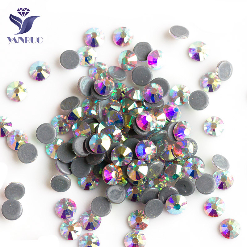 YANRUO 2058HF Crystal AB HotFix Rhinestones Crystal and Stones Iron On HotFix FlatBack سنگهای بدلیجات برای لباس