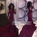 New Arrive African Prom Dress Long High Neck Long Sleeve Gold Beaded Stretch Satin Floor Length Mermaid Burgundy Prom Dresses
