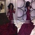 Nuevo Llega El Vestido de Fiesta Largo Cuello Alto Manga Larga de Oro Africano Rebordeó la Sirena hasta el Suelo Raso Borgoña Vestidos de Baile