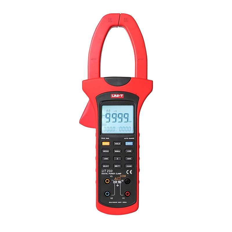 UNI-T UT233 three-phase digital clamp power meter, 1000A true RMS clamp meter phase sequence detection data storage USB transfer
