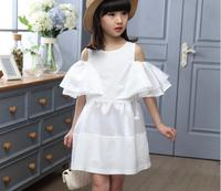 Free Shipping Newest 2016 Girls Flare Sleeve Party Dresses Children White Color Off The Shoulder Princess