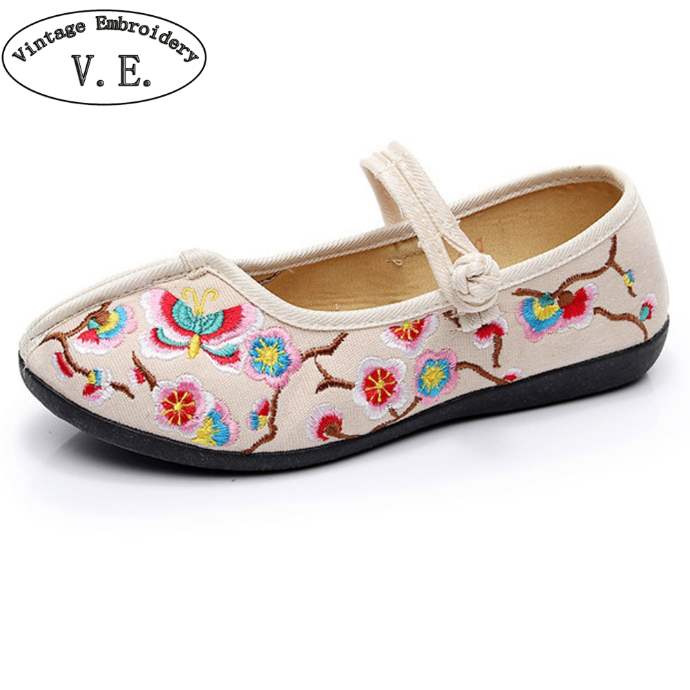 Chinese Women Shoes Flats Butterfly Embroidery Cotton Wedding Comfortable Old Peking Ballerina Shoes Woman Sapato Feminino vintage embroidery women flats chinese floral canvas embroidered shoes national old beijing cloth single dance soft flats
