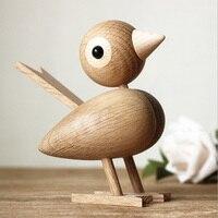 Denmark Nordic Style Wood Sparrow Bird Ornaments American Puppet Wooden Play Room Study Desktop Accessories