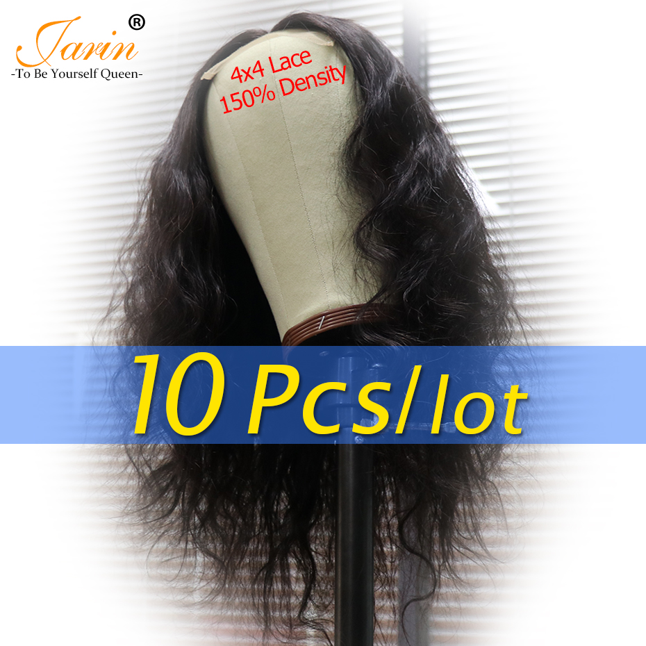 10 Pieces lot 150 4x4 Lace Closure Wigs Human Hair 4X4 Remy Brazilian Body Wave Lace