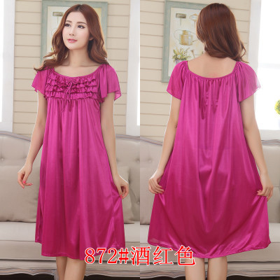 2018 Womens Summer Loose Long Sleepwear Plus Size Ladies Sexy Satin Lace Nightdress Girls Robe Ruffle Sleepshirts Nightgowns 5