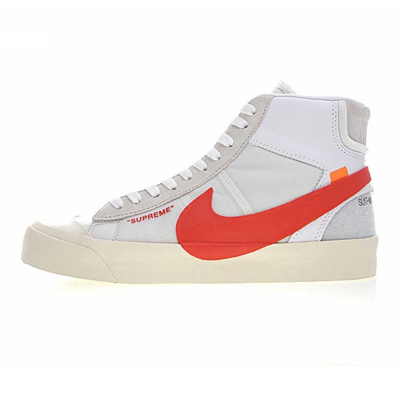 Мужская обувь для скейтбординга NIKE BLAZER, белый, с запахом, нескользящая, износостойкая, сбалансированная AA3832-006