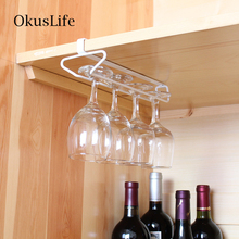 цена на High Quality Wine Rack Holder Cabinet Wall Storage Organizer Hanging Upside down Metal Holder Wine Glass Cup Bar Hanger Shelf