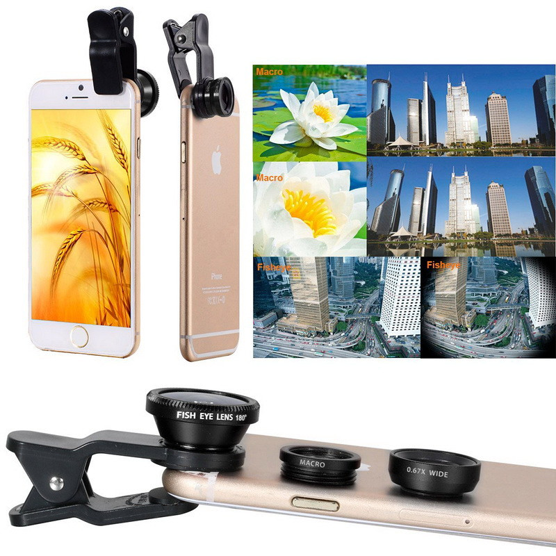 Shuohu 3in1 Universal Mobile Phone Lenses Fish Eye Lens Wide Angle Macro Lens for Iphone 7 6 S 5S SE Samrtphone Fisheye Lentes