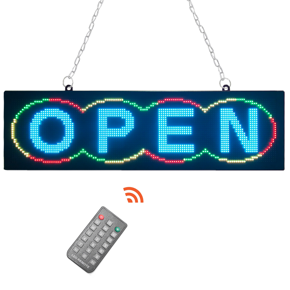 signage for OPEN with remote control on/0ff 21x6 inch LED Business Open Sign Advertisement panel Electric Display Sign
