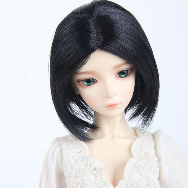 1PCS SD BJD Doll Accessories Black Doll Wig BJD 1/4 1/3 new 1 3 22 23cm 1 4 18 18 5cm bjd sd dod luts dollfie doll orange black short handsome wig
