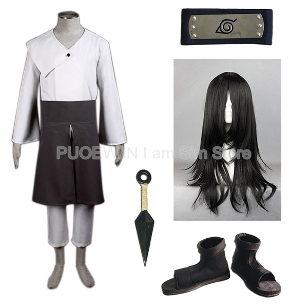 Anime Naruto Hyuuga Neji Cosplay Costume Full Set with Wig