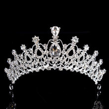 2019New Princess Luxury Crystal AB Bridal Crown Tiaras Light Gold Diadem Tiaras For Women Bride Wedding Hair Accessories Jewelry(China)