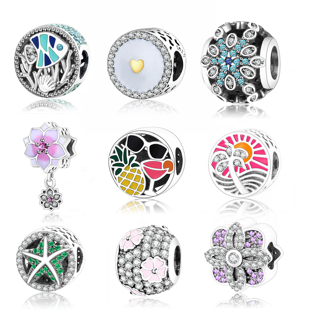 2017 New Design Magnolia Bloom Charms Beads Fits Original Pandora Charms Bracelets 925 Sterling Silver Flower Beads DIY Jewelry