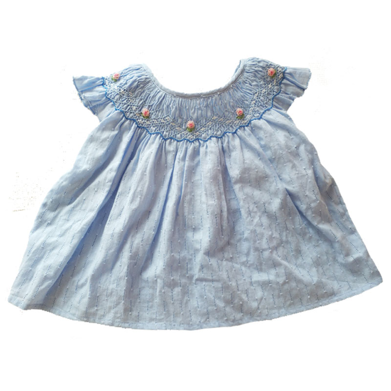 Kids T-shirts Smocking Toddler Baby Girls Summer Tops Short Sleeve Solid Blue Color Cotton Tee Embroidered Boutique Baby T shirt владислав крапивин кратокрафан