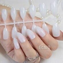 24pcs Half Clear White Nail Art Tips Full Cover Oval Sharp Stiletto False Fake Nails