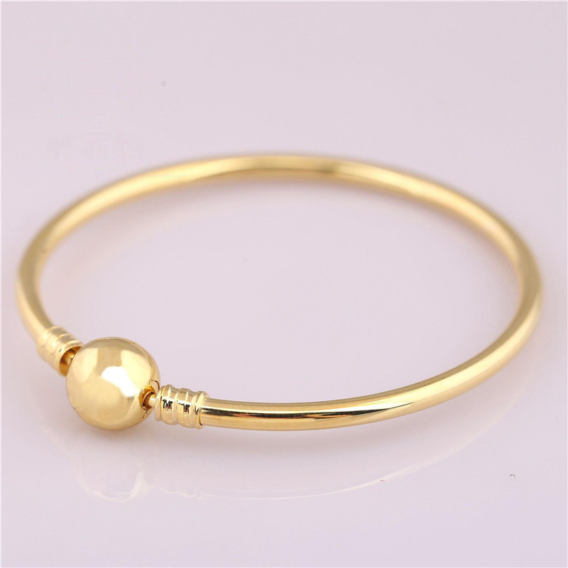 100 925 Sterling Silver Bead Charm Bracelet Fit Original Moments Gold Pans Bangle For Women DIY Europe Jewelry Birthday Gift in Bangles from Jewelry Accessories