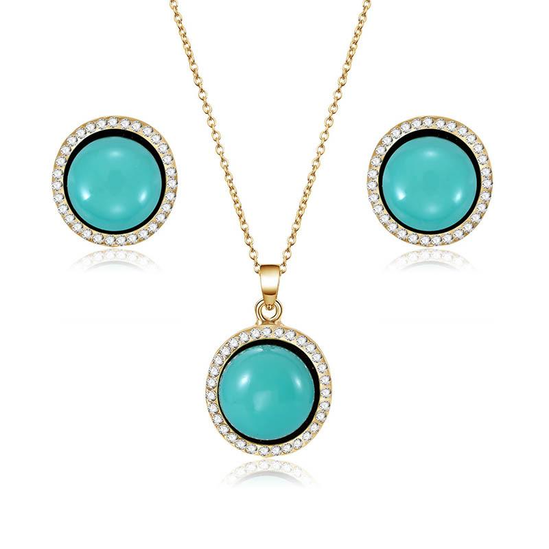 European and American Round Alloy Necklace Earrings jewelry Set