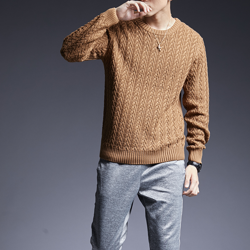 2019 New Fashion Brand Sweaters Man Pullover Thick Slim Fit Jumpers Knitwear Solid Color Autumn Korean Style Casual Mens Clothes