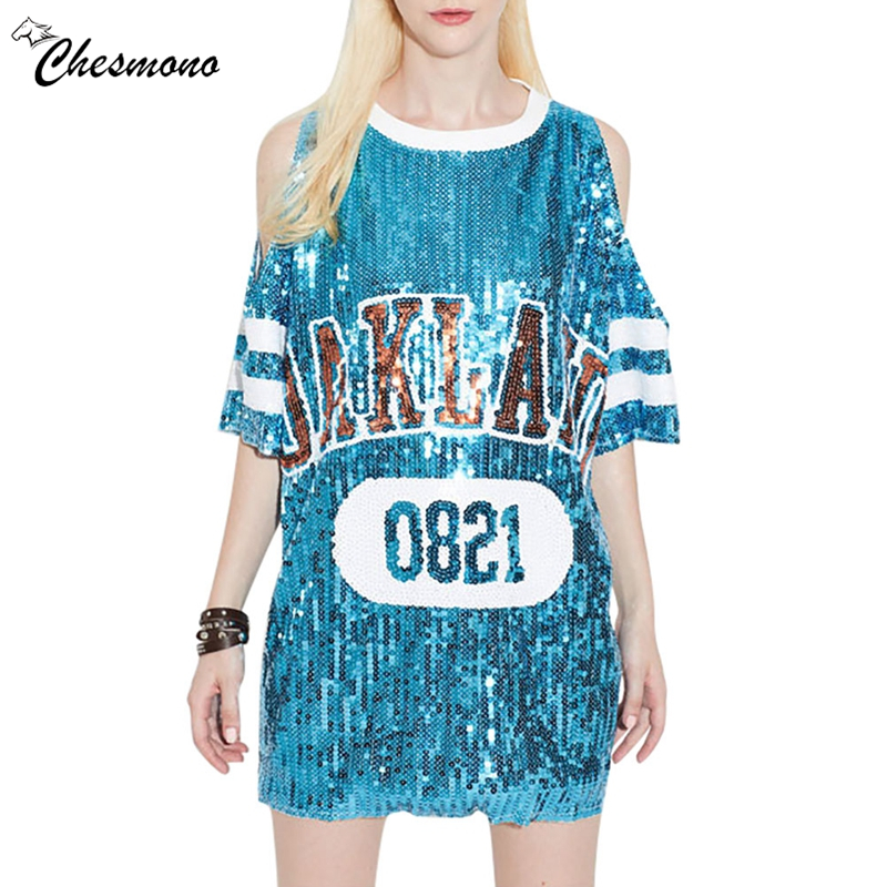 Women's Fashion Style Off Shoulder T-Shirt Loose Short Sleeve Long Hip Hop Shirt Sequined T-Shirt Casual letter Tops Tees Street