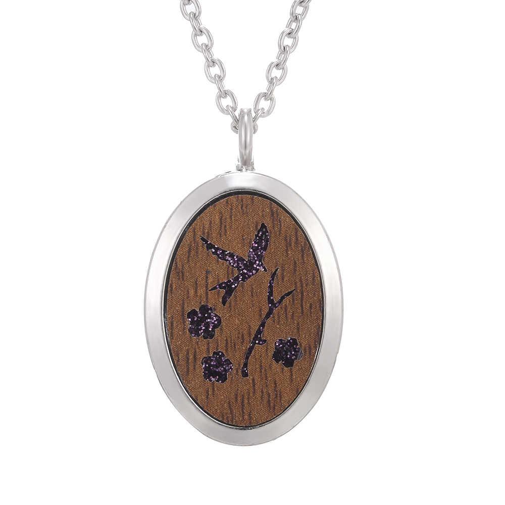 Collier à médaillon ovale mélangé, plus de Styles collier à huile essentielle bijoux collier en bois à fermeture magnétique collier à pendentif à médaillon