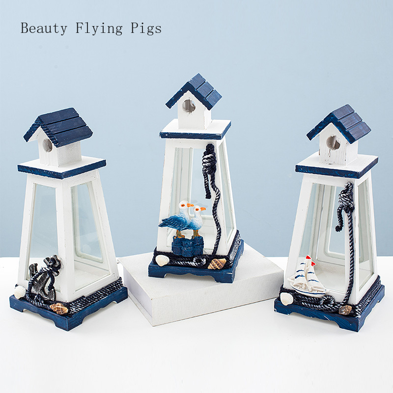 Nordic Mediterranean style wind lamp retro creative marine windproof tower sailing anchor lighthouse home wood decorations(China)